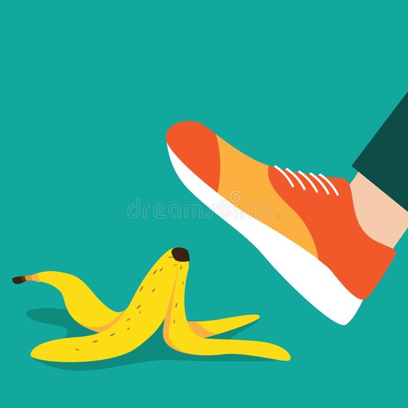 Foot slipping on a banana peel flat design. stock illustration