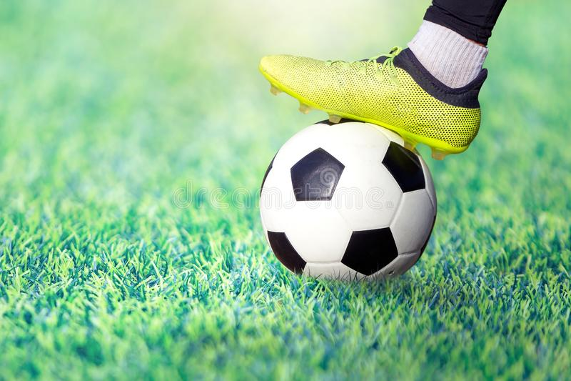 Foot of a soccer player in a football boot on a ball on an green lawn of the stadium. royalty free stock image