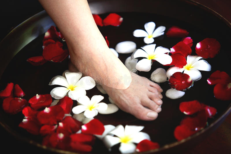 Foot spa massage royalty free stock images