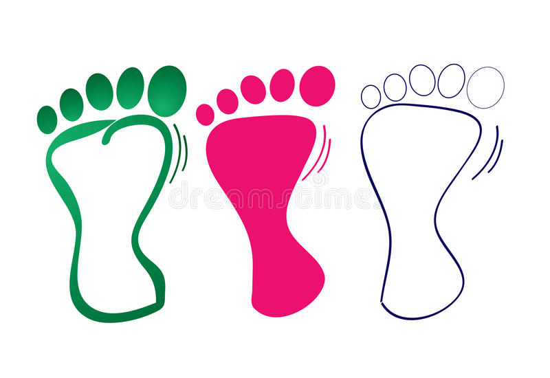 Foot step. Three foot step shape on isolated background stock illustration