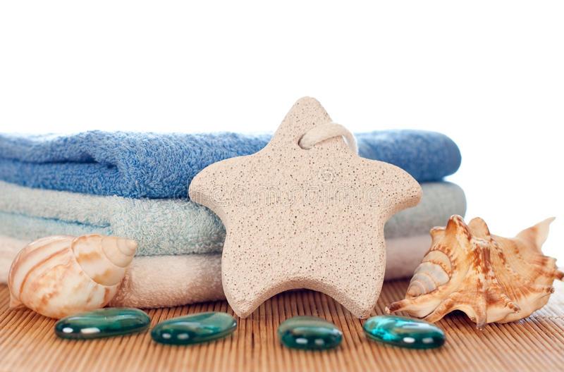 Download Foot stone and towels stock image. Image of decor, body - 12681699