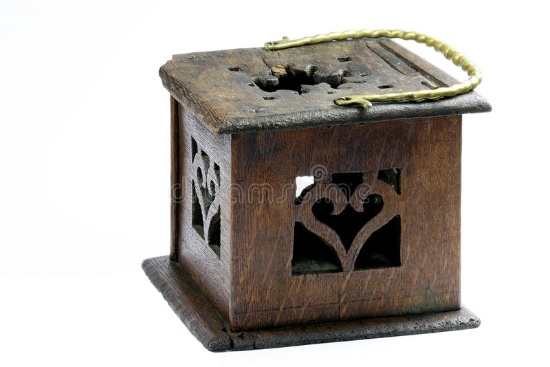 Foot stove. Wooden foot stove with brass handle stock image