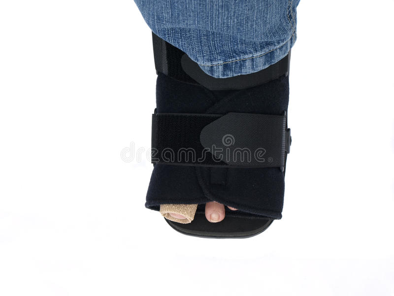 Foot Surgery. A foot after surgery wearing a medical boot and a bandage royalty free stock photography