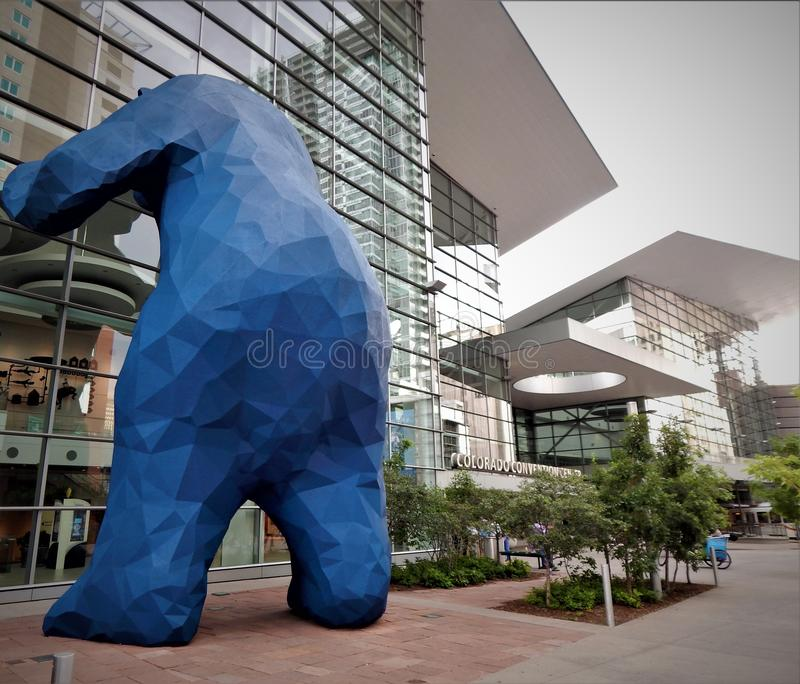 Big Blue Bear Conventions Colorado. 40 foot tall blue bear statue outside the Colorado Convention Center in Denver Colorado stock photography