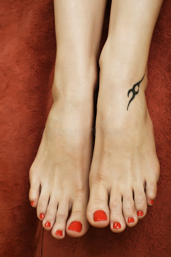 Download Foot tattoo stock image. Image of female, polish, tattoo - 5209139