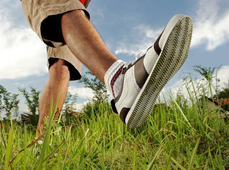 Foot walking stock photo