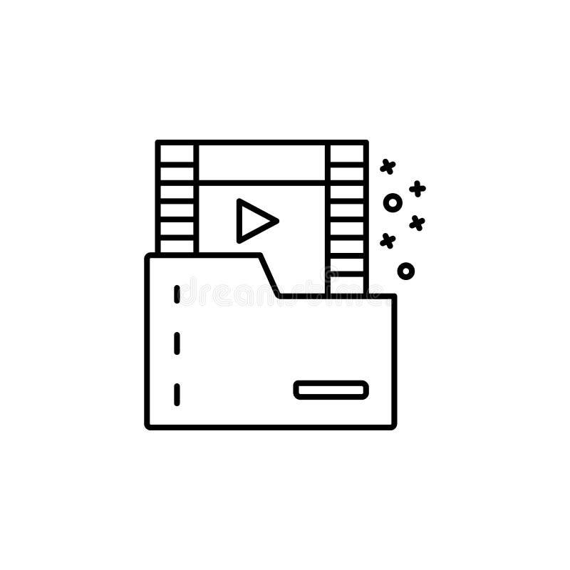 Footage folder video play icon. Element of quit smoking icon. On white background stock illustration