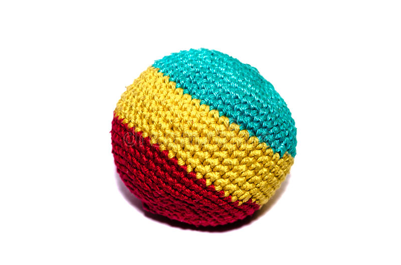 Footbag. Knitted ball for playing footbag stock image
