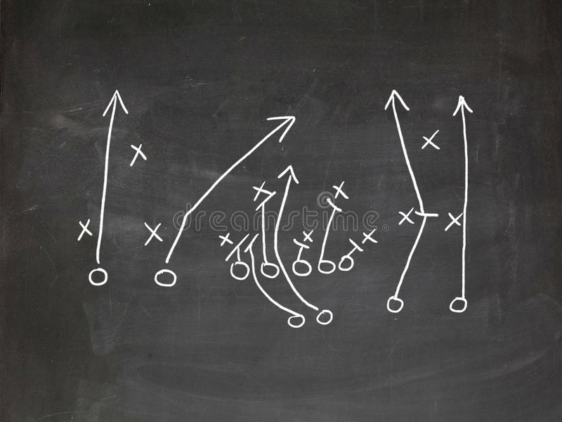 Footbal play strategy. Drawn out on a chalk board royalty free stock photo