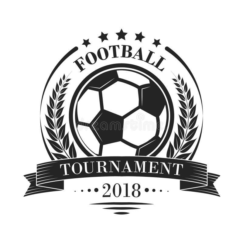 Footbal-Turnierfirmenzeichen oder -emblem im Retrostil mit Sternen, Band und Lorbeer winden lizenzfreie abbildung