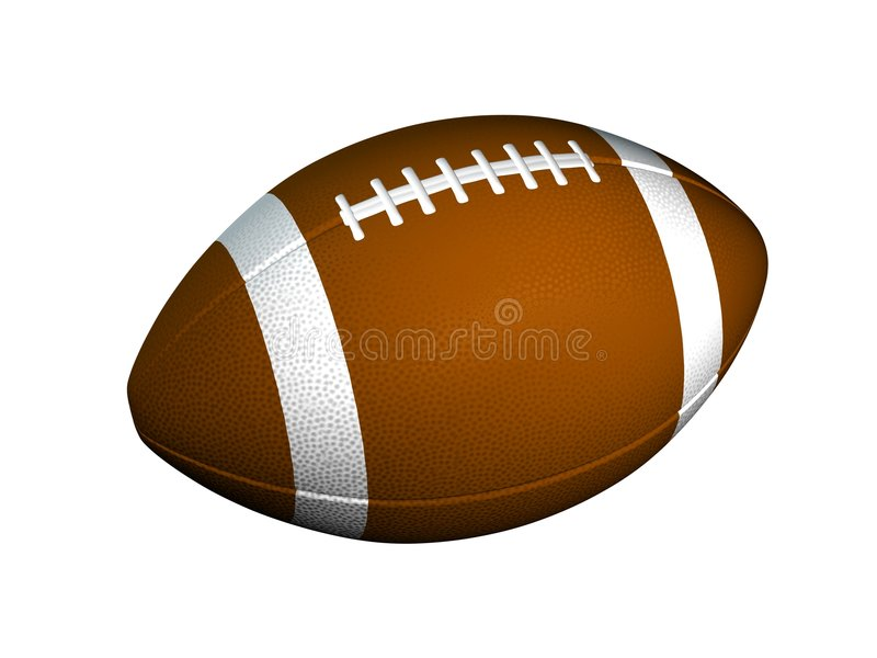 Football. Digital image of American football on white background