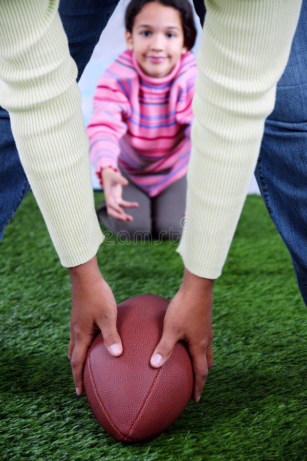 Football. On a field with girl royalty free stock photography