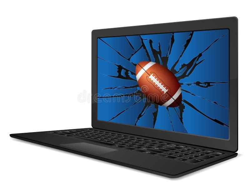 Football américain criqué d'ordinateur portable illustration de vecteur