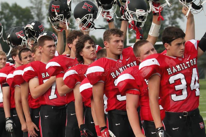 Football américain de lycée photographie stock libre de droits