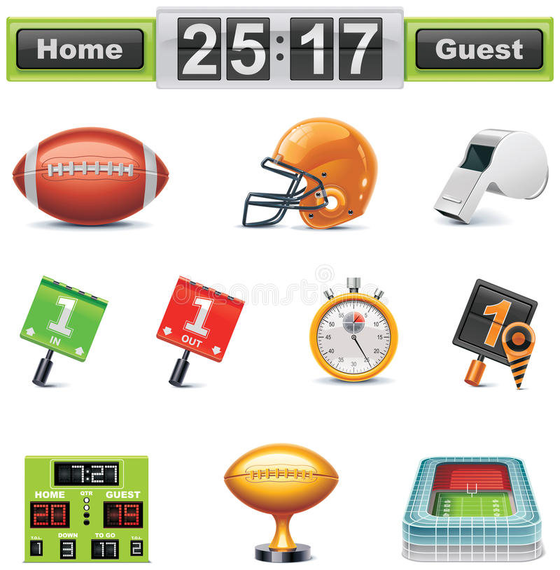 Football americano di vettore/insieme icona del gridiron. Parte illustrazione di stock