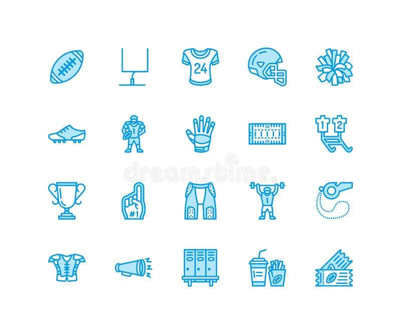 Football americano, linea piana icone di vettore di rugby Metta in mostra gli elementi del gioco - la palla, il campo, il giocato illustrazione vettoriale