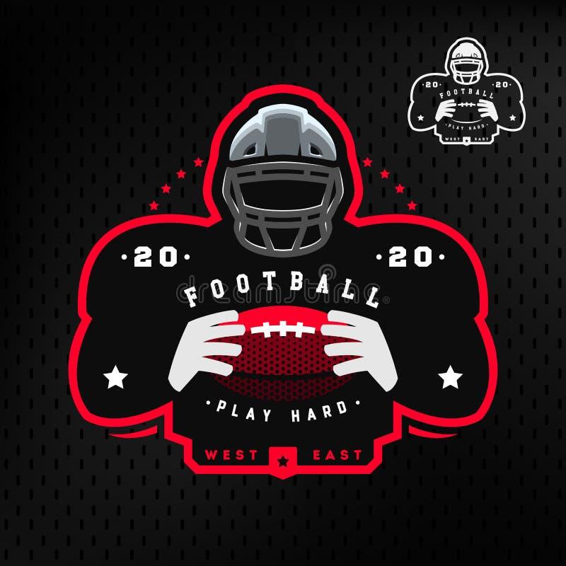 Football americano Siluetta di un emblema di logo del giocatore di football americano su un fondo scuro illustrazione vettoriale