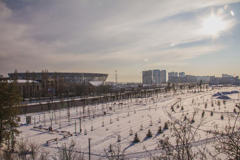 Football arena and sunlight royalty free stock image