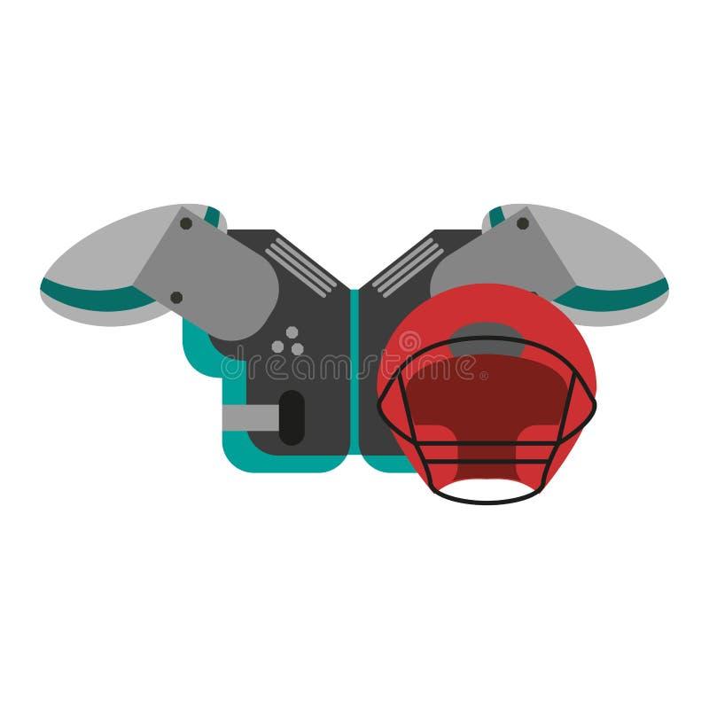 Football armour and helmet. Vector illustration graphic design vector illustration