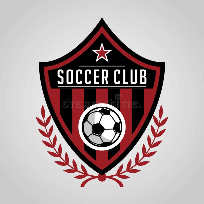 Football badge logo template design, soccer team, vector. Sport, icon. stock illustration