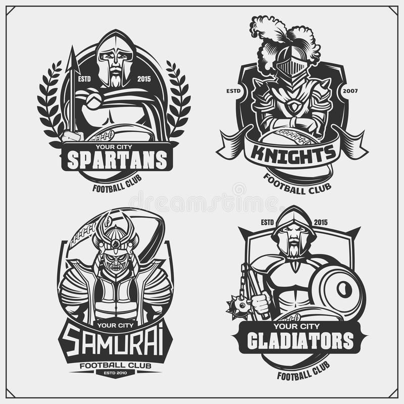 Football badges, labels and design elements. Sport club emblems with ancient warriors. Print design for t-shirt. stock illustration