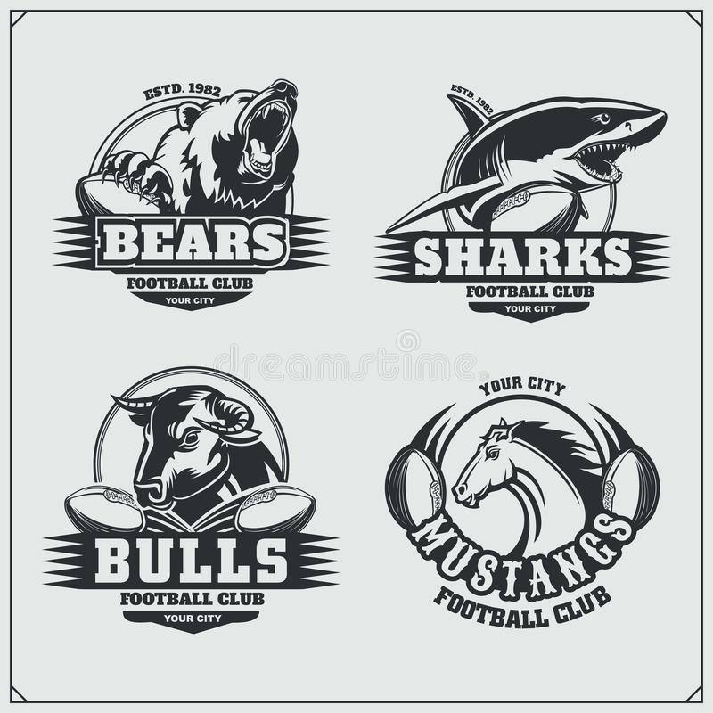 Football badges, labels and design elements. Sport club emblems with bear, shark, bull and horse. royalty free illustration