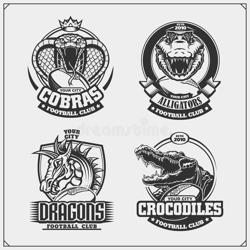 Football badges, labels and design elements. Sport club emblems with cobra, crocodile and dragon. vector illustration