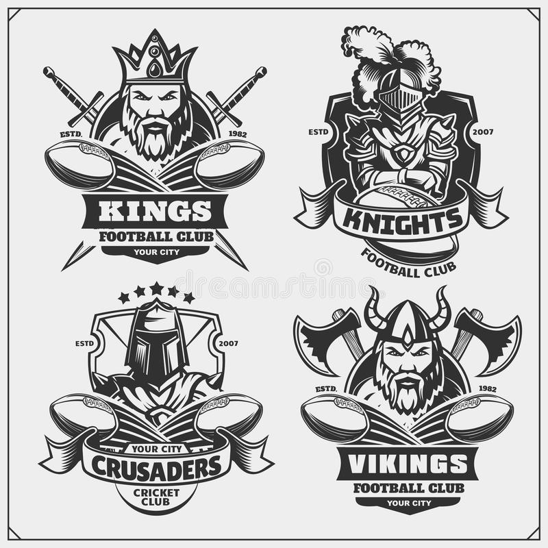 Football badges, labels and design elements. Sport club emblems with king, crusader, knight and viking. stock illustration