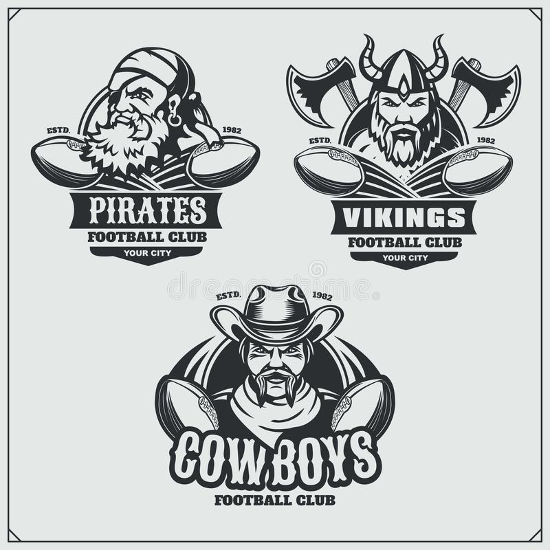 Football badges, labels and design elements. Sport club emblems with pirate,cowboy and viking. vector illustration