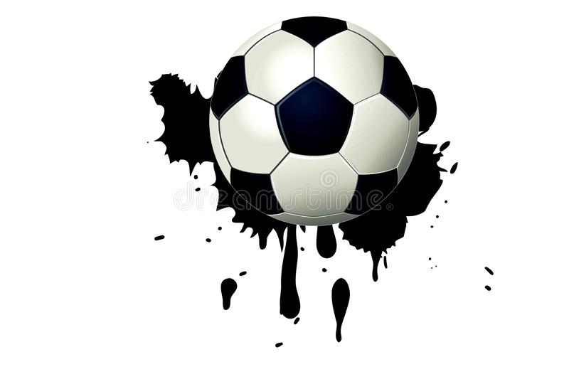 Football ball on black watercolor stain with paint splash and brush strokes. Soccer, ink, creating, illustration, single, item, object, play, joy, fun, team royalty free stock photo