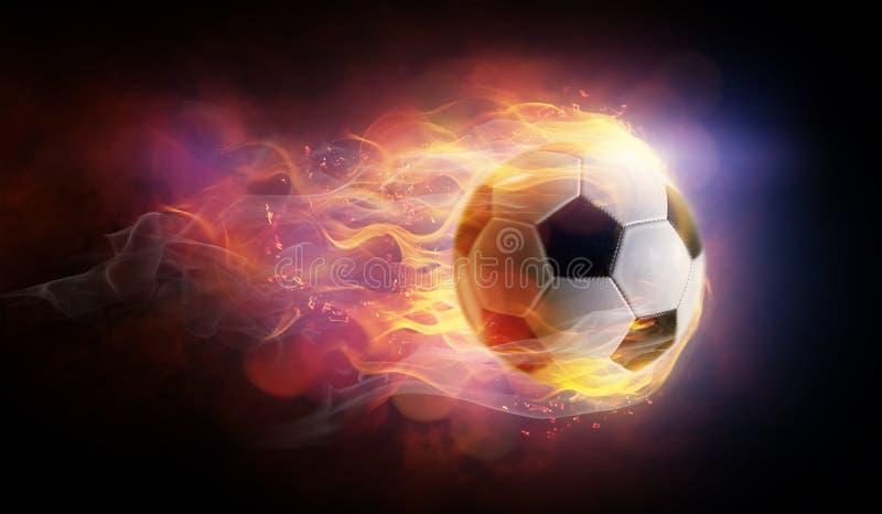 Football ball flamy symbol. Football ball bright flamy symbol on the black background royalty free illustration