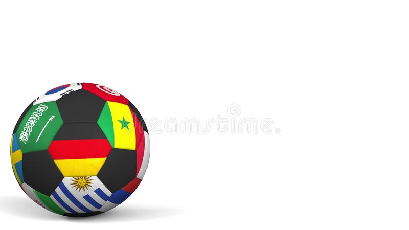 Football ball featuring different national teams accents flag of Germany. 3D rendering vector illustration