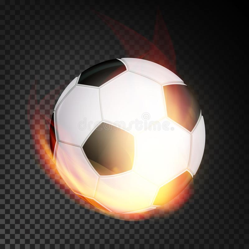 Football Ball In Fire Vector Realistic. Burning Football Soccer Ball. Transparent Background stock illustration