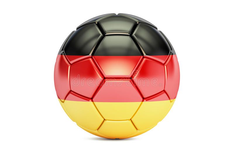 Football ball with flag of Germany, 3D rendering stock illustration