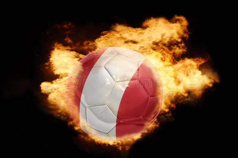 Football ball with the flag of peru on fire vector illustration