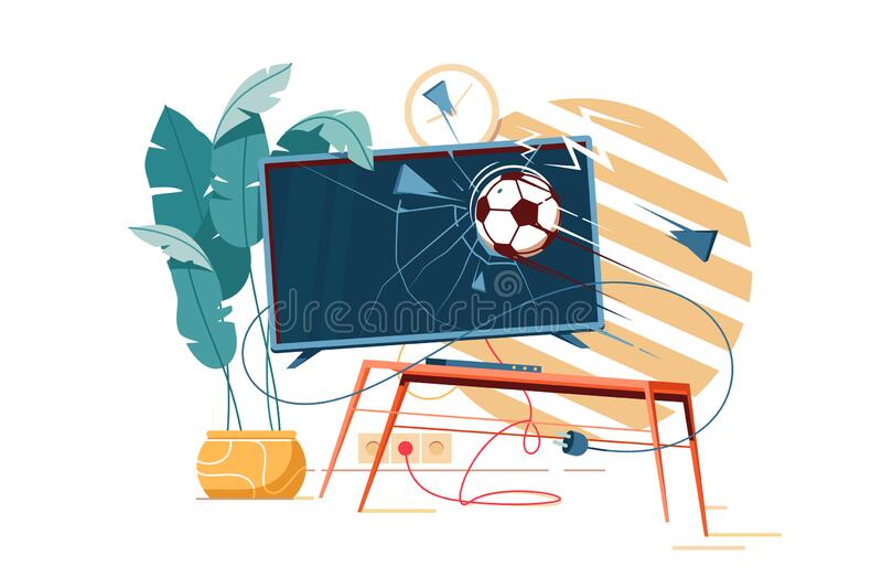 Football ball punching and crushing tv destroying furniture. stock illustration
