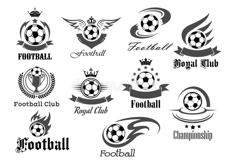 Football ball vector icons for royal soccer royalty free illustration