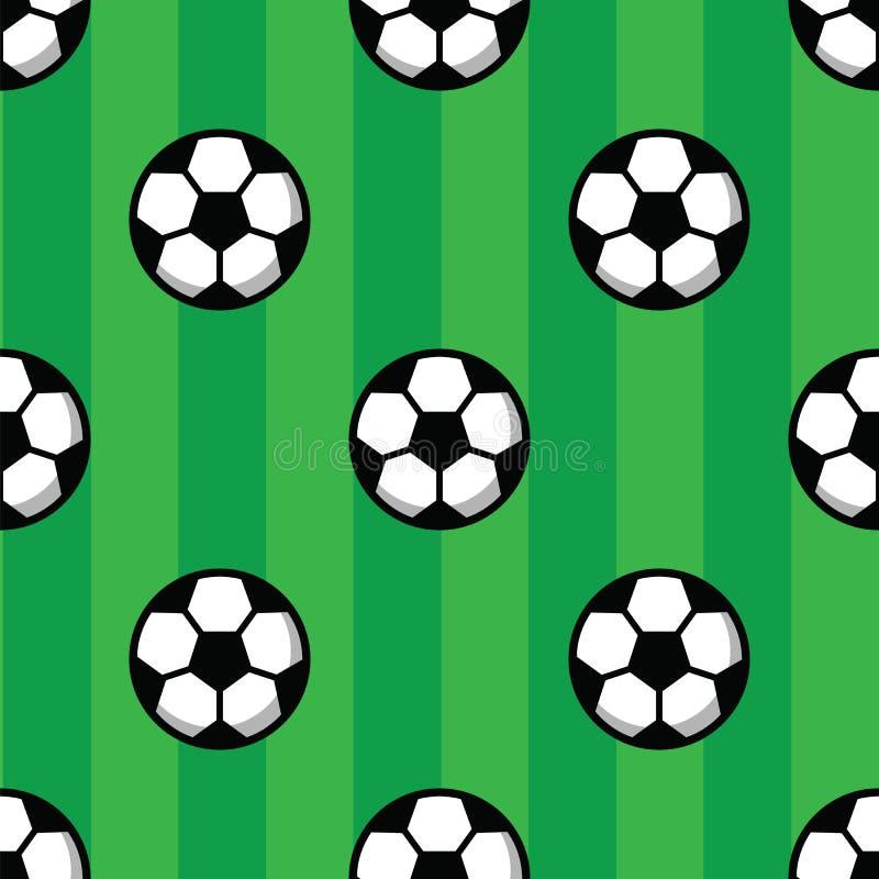 Football balls on green grass of soccer field. Football pattern, soccer balls and green field. Seamless pattern royalty free illustration