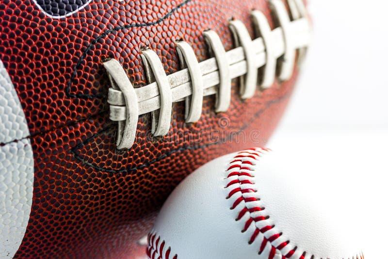 Football and baseball balls. Sport equipment stock photography