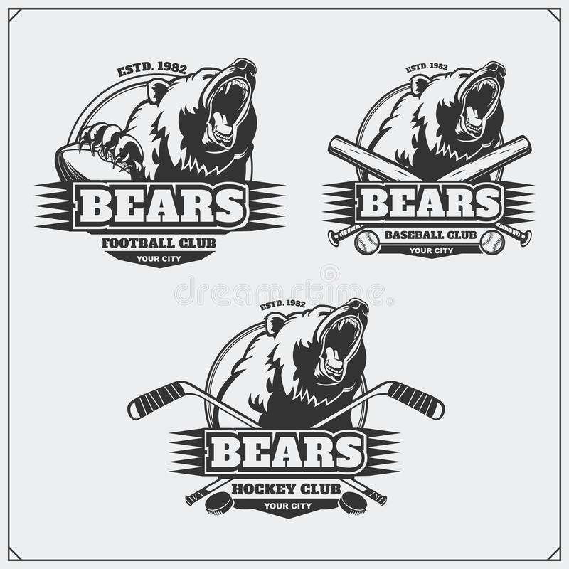 Football, baseball and hockey logos and labels. Sport club emblems with head of bear. royalty free illustration