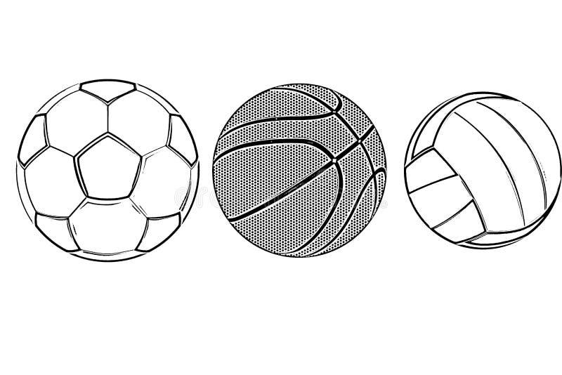 Football, basketball, volleyball balls isolated on white background. Illustration design stock illustration