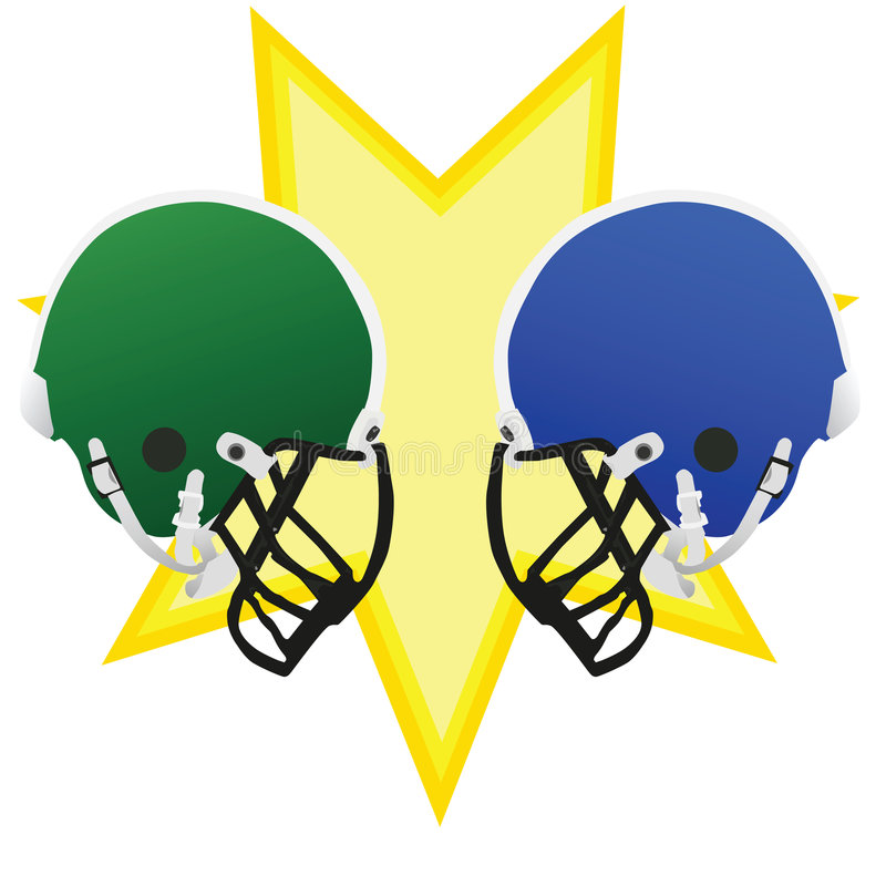 Football battle. Two football helmets facing each other, symbolizing the battle of the game vector illustration