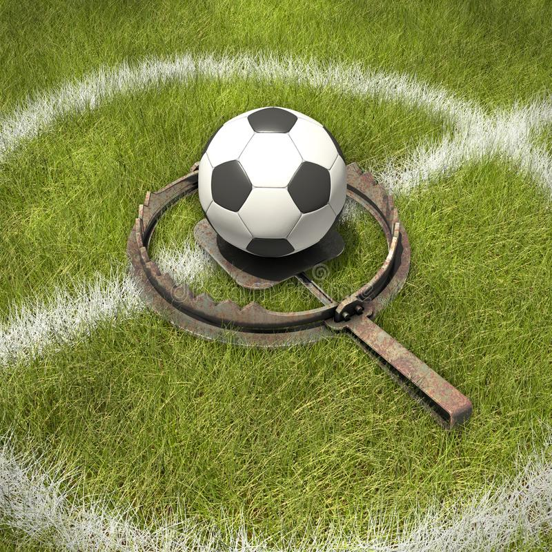 Football in bear trap. 3d rendering royalty free stock image