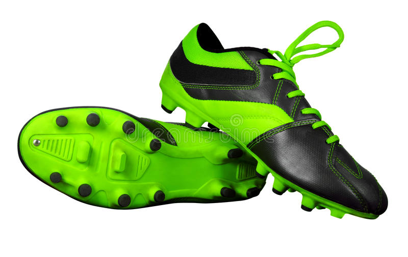 Football boots isolated. On white with Clipping Path royalty free stock image