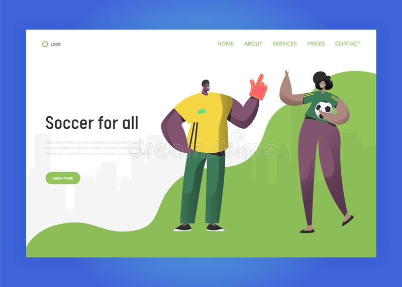 Football Brazil Fan Character Couple Set Landing Page. Excited Friend Celebrate Brazilian Sport Event Victory with Ball. Big Hand Concept for Website or Web stock illustration