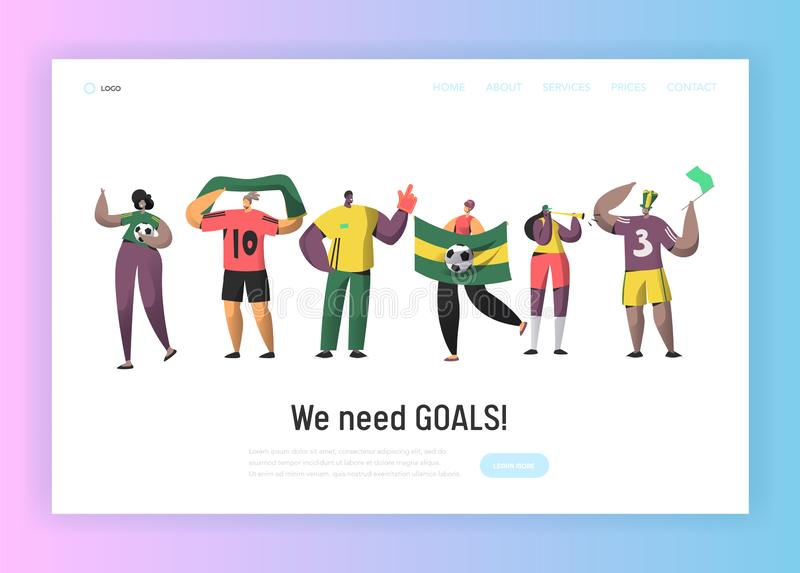 Football Brazil Fan Team Set Landing Page. Happy Friends Celebrate Brazilian Soccer Event Victory with Flag, Scarf stock illustration