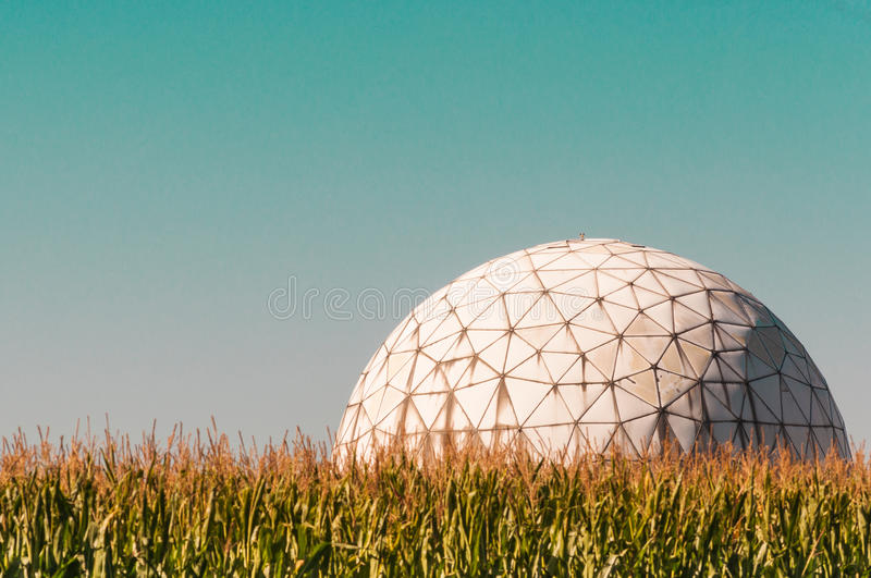 Football in Brobdingnag. Radar station of the Fraunhofer institute in Wachtberg, Germany stock photography