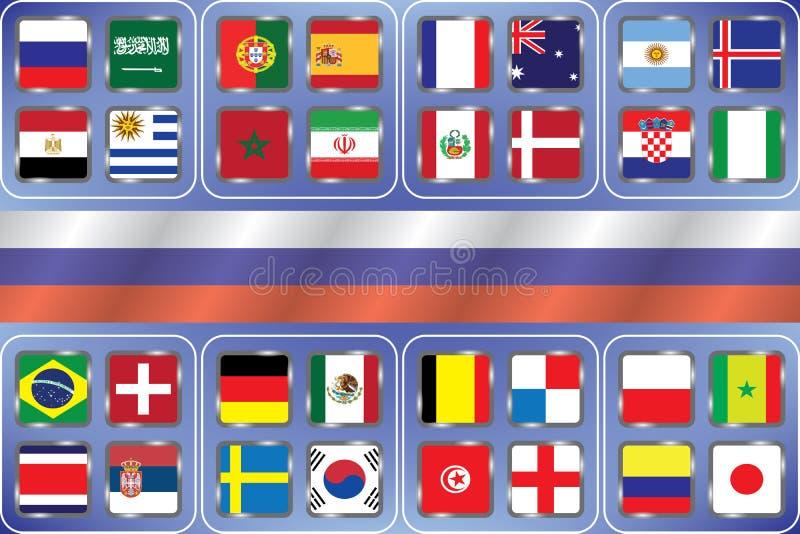 Football Championnat du monde Drapeaux de vecteur du pays Coupe du monde Graphique de l'information des drapeaux des nations illustration libre de droits