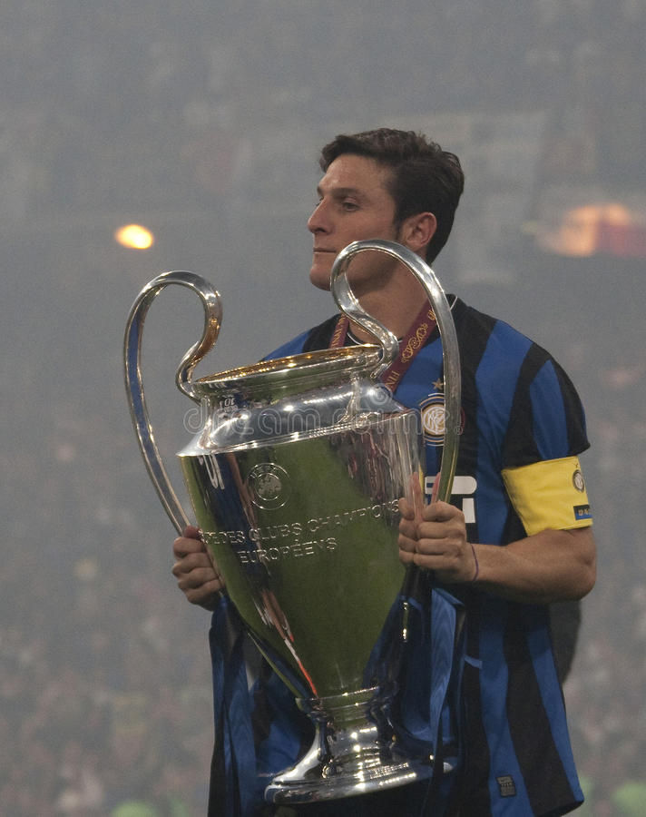 Football: Champions League Final 2010. MADRID, SPAIN. 22/05/2010. Milan's defender Javier Zanetti (captain) with the trophy for winning the Champions League royalty free stock photos