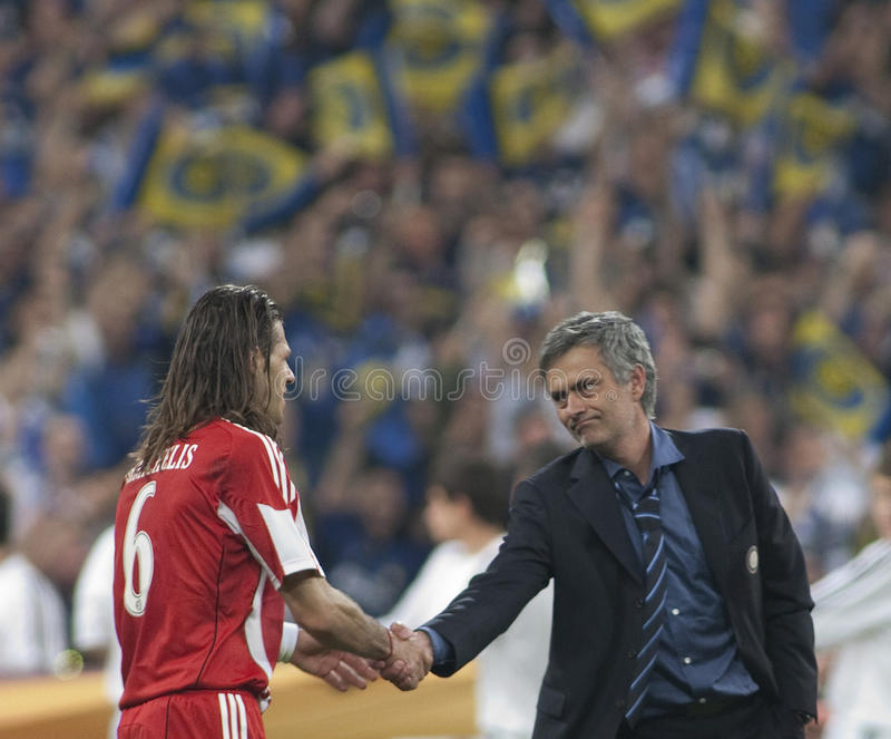 Football: Champions League Final 2010. MADRID, SPAIN. 22/05/2010. Milan's head coach Jose Mourinho shakes the hand of Munich's defender Martín Demichelis royalty free stock photography